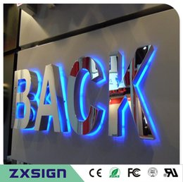 Wholesale Factory Outlet Outdoor 304# brushed mirror polished stainless steel back lit LED letter signs