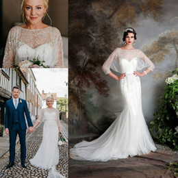 Short Wedding Dress Feathers Ivory Canada - Great Gatsby Vintage Luxury Country Wedding Dresses 2019 Modest Jenny Packham Short Sleeve Beaded Mermaid Bridal Gowns Eliza Jane Howell