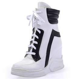 Chinese  Wholesale-New Fashion 2016 Lace Up Wedges Platform Casual Shoes Woman Patchwork Womens Winter Or Spring Black White Red Ankle Women Boots manufacturers