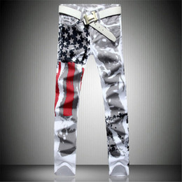 Mens capris wholesale online shopping - New Arrival Men Casual American USA Flag Printed Jeans Pants Mens Graffiti Print white hip hop fashion Jeans
