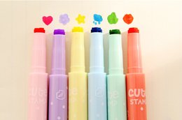 $enCountryForm.capitalKeyWord NZ - Wholesale- 6pcs Cute candy colour stamp Highlighter Marker pen for reading DIY scrapbooking Stationery material escolar School supplies