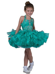 ruffle tutus UK - Infant Glitz Girls Beaded Pageant Cupcake Dresses Baby Short Tutu Gowns Toddler Halter National Pageant Dress