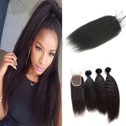 Discount kinky weave bundles closure - Kinky Straight Lace Top Closure With 3pcs Human Hair Bundles Indian Virgin Hair Weaves With Closure
