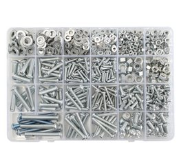 screws flat head Canada - XNEMON M3 M4 M5 M6 Hex Flat Screw Nut Box Set Galvanized Cross Head Bolt Nuts Washers