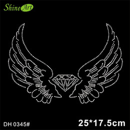 Wholesale motif design for clothing for sale - Group buy angel wing bling stone crystal hotfix rhinestones motif heat transfer design iron on flower for clothes shirt DIY DH0345