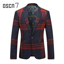 Barato Casaco De Terno Azul Lazer-Atacado- OSCN7 Navy Blue Red Plaid Men Blazer Slim Fit Leisure 2017 Latest Business Blusa Formal Masculino Plus Size Jacket de terno para homens