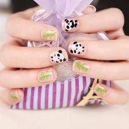 $enCountryForm.capitalKeyWord Canada - Wholesale- Cute 24 pcs Acrylic Short False Nails Panda Bamboo Round Transparent Full Nail Tips Smooth Surface 12 Sizes