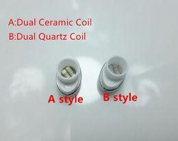 Discount g pen micro replacement coil In stock Quartz Wax Ceramic Dual Coil Replacement Core Atomizer For Wax Vaporizer Pen Quartz Rod for Elips Cloud Pen mic