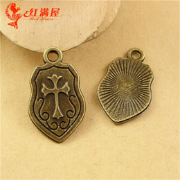 $enCountryForm.capitalKeyWord Canada - 24*14MM Zinc alloy plating ancient bronze shield cross charms metal pendant mobile phone accessories retro jewelry wholesale