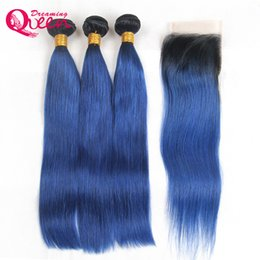 $enCountryForm.capitalKeyWord UK - 1B Ocean Blue Straight Hair Ombre Brazilian Virgin Human Hair Extensions 3 Bundles With 4x4 Lace Closure Bleached Knots Free Shipping