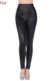 Pantalon Sexy En Cuir Noir Pas Cher-Leggings en faux cuir Black Sexy Women Slim Leggings taille haute Ladies Leggings élastiques Zipper Skinny Stretchy Leggins Push Up Pant SV019149