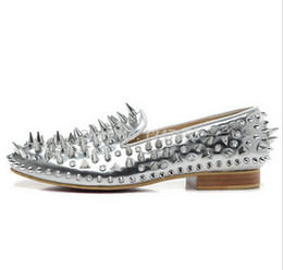 $enCountryForm.capitalKeyWord UK - New Luxury Men's Sliver Patent Leather Sliver Mix Spikes Red Sole Loafers Flats Shoes,Designer Men Women Red Bottom Business Dress Shoes