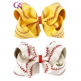 Cheerleader Hair Canada - 8 Inch Baseball Hair Bow Softball Hair Bow White Baseball Cheer Bow For Cheerleader Girls School