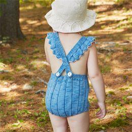 $enCountryForm.capitalKeyWord NZ - Baby Girls Crochet Rompers Kids Girls Sleeveless Wool Jumpsuit with Hat 2017 Infant Toddler One-piece Princess Romper Children Clothing B643