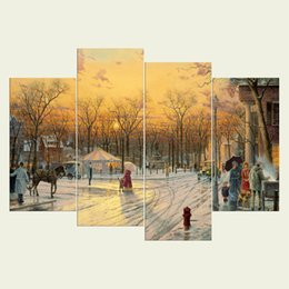 textured oil paintings 2018 - (No frame) Street view series HD Canvas print 4 pcs Wall Art Oil Painting Textured Abstract Pictures Decor Living Room D