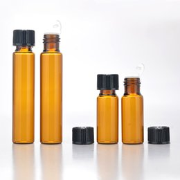 $enCountryForm.capitalKeyWord NZ - Wholesale 500Pieces Lot 5ML Mini Portable Amber Glass Perfume bottle with plug empty Essential oils vial for traveler
