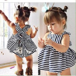 Mini Tenue De Dentelle Pas Cher-Baby Girls Ruffled Dress Mode Striped Lace Vêtements Ensembles Pour Girl Summer Boutique Outfits Princess Sling Robe Shorts Costumes
