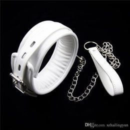 Couteau Collage Pas Cher-SM White Leather Lockable Soft Padded Choker Collar et Metal Lead Leash Medical Bondage Fétiche Sexe adulte Sex Toy