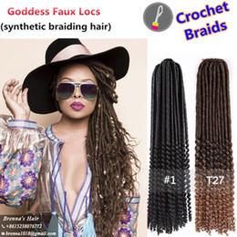 "$enCountryForm.capitalKeyWord NZ - Ombre braiding hair africa 20"" Goddess Faux Locs Crochet Hair Curly Ends Crochet Braids Hair Extension Low Temperature Flame Retardant Fiber"