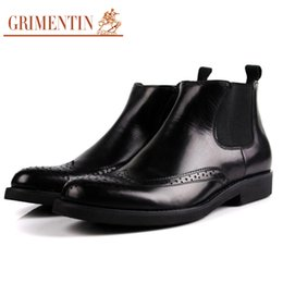 Grimentin Shoes UK - GRIMENTIN Hot sale Italian brand mens boots fashion 100% genuine leather black brown dress formal business men ankle boots for men shoes