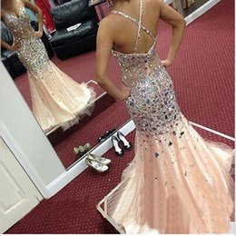 $enCountryForm.capitalKeyWord NZ - Crystal and Tulle add Lining 2019 Mermaid Prom Dresses V-Neck Sleeveless Criss-Cross Sweep Train Long Beaded Party Evening Gowns