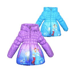 Wholesale cute baby girl Winter thick coat anime Cinderella hooded zipper coat for yrs girl children kids warm outerwear clothes hot sale