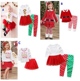 $enCountryForm.capitalKeyWord Canada - Children Christmas Deer Stripe Outfits Girls Cartoon letter printing Top+Pants(Skirt) 2pcs Set Xmas Baby Suits Santa Claus Kids Clothing