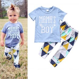Baby Tshirt Outfit Boys Canada - New Summer Boys Set Infant Baby Kids Letters Short Sleeve Cotton Tops Tshirt + Geometry Pants 2pcs Children Outfits Boy Suit 3055