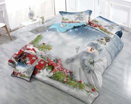 $enCountryForm.capitalKeyWord NZ - Custom Drawings Can be Customized Vigorous 3D Dreamy Snowman Digital Printing Cotton Satin 4-Piece Cotton Duvet Cover Sets Bedding Sets