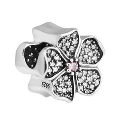 Authentic Flowers Australia - New Apple Blossom Charms Beads Authentic 925 Sterling-Silver-Jewelry Crystal Pave Flower Bead DIY Brand Charm Bracelets Making Accessories