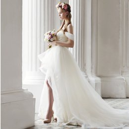 detachable high low wedding dresses 2019 - 2018 Off-the-shoulder Wedding Dresses High Low Wedding Dresses Wedding Dresses with Detachable Train Lace Bridal Gown di