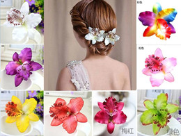 hair flowers clips orchid UK - 9 Colors Bohemia Style Orchid Peony Flowers Hair Clips Beach Hairpins Women Hair Accessories.25pcs\