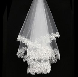 classic white veil NZ - 2018 New Classic beauty White ivory lace sequins 1.5 meters netting bridal veil wedding accessories