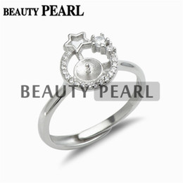 Star Ring Settings 925 Sterling Silver Blanks Cubic Zirconia Ring Semi Mounting for Pearl 5 Pieces on Sale