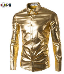 $enCountryForm.capitalKeyWord Canada - Mens Trend Night Club Coated Metallic Halloween Gold Silver Button Down Shirts Party Shiny Long Sleeves Dress Shirts For Men