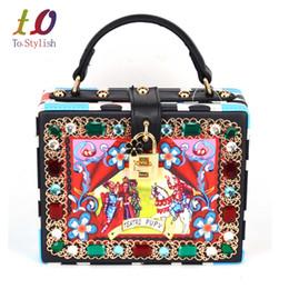 $enCountryForm.capitalKeyWord Canada - Characters printed lock Bag oil painting diamond-studded box handbags women's Clutch Evening Bag ladies shoulder bags totes