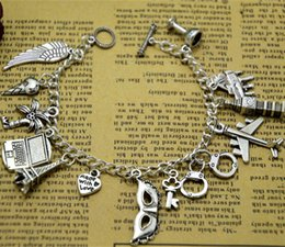 Handcuffs silver bracelets online shopping - 8pcs FSOG Charm Bracelet Fifty Shades of Grey Inspired Shades charms Tie Handcuffs Gray Bracelets