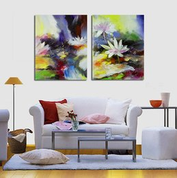 Modern Abstract Flower Paintings Canada - Free ship 2 Panel Modern Lotus Flower Canvas Painting Picture Abstract Printed living Room Wall Sticker No Frame