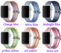 Discount apple watch 38mm classic 38mm 42mm band for apple watch series 1 2 woven 13 colors nylon band strap for iWatch colorful pattern classic buckle