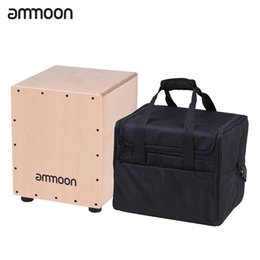 Discount drum percussion instrument - Wholesale- ammoon Wooden Cajon Box Drum Hand Drum Medium Size Percussion Instrument Birch Wood with Adjustable Strings C