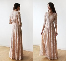 Red white dinneR gowns online shopping - Vintage Blush Pink Lace Long Sleeve Bridesmaid Dresses Plus Size V neck Full length Maid of Honor Junior Wedding Guest Dinner Gown