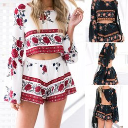 Sexy Et Sexy Pas Cher-New Women Summer Beach Jumpsuit Clubwear Bodycon Playsuit Romper Hot Short Pants Floral Imprimé Rompers Sexy Beach Wear pour Femme CWJ0067