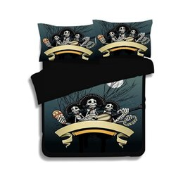 Halloween Designer Bedding Queen King Twin Size 100% Polyester Duvet Cover  Bedding Pillowcases Skull Bedding Set Home Textile