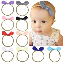 Babies Hair Wearing Headbands Canada - Wholesale Girls Baby Childrens Headbands Elastic Cope Hairbands Cloth Rabbit Ears Headdress Hair Sticks Wearing Hair Band Hair Accessories