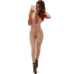 Elegant Jumpsuits Sleeves Australia - Sexy Half Sleeve Women Deep V Neck Jumpsuit Romper Long Pant Fashion New Elegant Satin Women Overalls Shinning Siamese