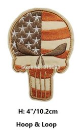 Usa Flag Clothing Canada - VINTAGE PUNISHER SKULL USA WAVING FLAG MILSPEC US ARMY MORALE ISAF PATCHES Hook & Loop Patch tv moive series badge for clothing