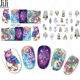 wholesale 1 sheet new halloween night owl campanula pattern sticker water transfer nail art stickers nails care decals stz437438