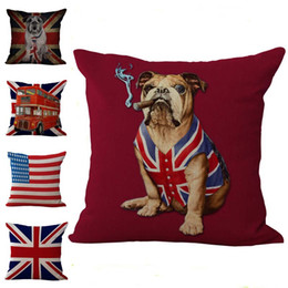 Chinese  National Flag Old Glory Union Jack Dog Pillow Case Cushion cover Linen Cotton Throw Pillowcases sofa Bed Pillow covers Drop shipping PW376 manufacturers