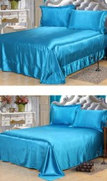 $enCountryForm.capitalKeyWord Canada - 4PCS Sheet set Satin Silk Bedding Lake Blue Fitted bedspread bed sheets linens California Super King Queen size full twin double