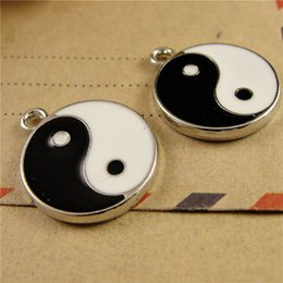 $enCountryForm.capitalKeyWord Canada - 18MM DIY zinc alloy accessories enamel charms round metal jewelry tag for bracelet, wholesale Yin and Yang Bagua Pendant for necklace beads